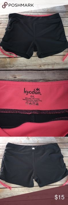 """Kyodan brand workout shorts Steel gray shorts with coral trim. Sides cinch  waist 16"""" inseam is 3"""" Kyodan Shorts"""