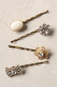 Vintage inspired hair pins by Anthropologie.
