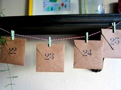 envelope advent... so cute, maybe filled with gift cards for small places like ice cream, or ice skating.. to make sure the month is filled with fun