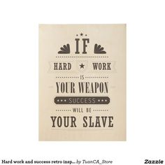 Hard work and success retro inspirational poster