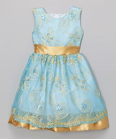 This Kid Fashion Blue & Gold Floral Embroidered Dress - Infant, Toddler & Girls by Kid Fashion is perfect! #zulilyfinds