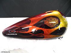 Epic Firetruck's Motor'sicle Paint ~ Custom Motorcycle Paint Jobs, Custom Bikes, Paint Bike, Pinstripe Art, Candy Red, Flame Art, Helmet Paint, Chopper Motorcycle, Cool Tanks