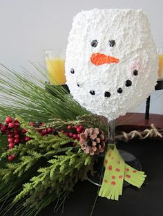 Snowman Wine Glass Tea Light Holder