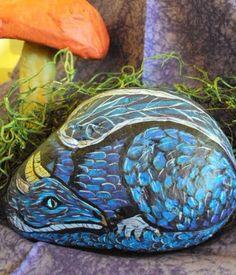 dragon pet rock, purple and blue via Etsy