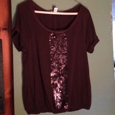 Purple LOFT Shirt w/Shimmery Beads Down Front EUC Purple Short Sleeve LOFT Top with Shimmery Beads down front (not really sequins); frayed neckline and elastic waist; Excellent used condition with no rips or stains. Smoke free home LOFT Tops Tees - Short Sleeve