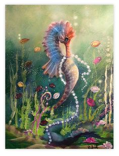 Sea of Pearls ~ by Robin Pushay on deviantART Seahorse Tattoo, Seahorse Art, Seahorses, Mermaid Artwork, Mermaid Drawings, Mermaid Pictures, Tatoo Art, Sea Art, Fish Art