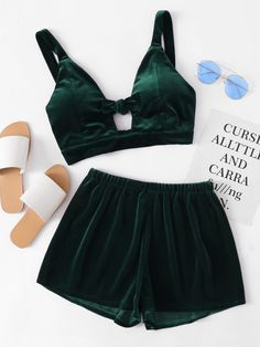 Shop Velvet Knotted Keyhole Front Crop Top With Shorts online. SheIn offers Velvet Knotted Keyhole Front Crop Top With Shorts & more to fit your fashionable needs.