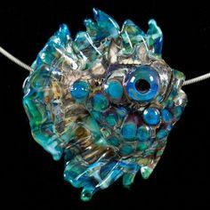 Glass Lampwork Bead Fish - Ocean Blue Angelfish Pendant by Patsy Evins