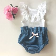 High Waist Denim Bloomers and Lace Singlet - baby, girl, spring, summer, newborn