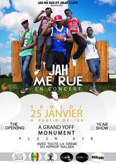 JAH ME RUE Official en concert  aujourd'hui à partir de 19h RDv au Monument de Grand Yoff http://www.wakhart.com/events/jah-me-rue-en-concert/