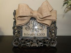 Personalized Burlap Picture Frame by AnnaDrewDesigns on Etsy