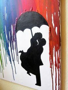 Crayon Art, Kunst aus Wachsmalstiften, Föhn, schmelzen, Regenschirm, Paar, Hochzeit, Liebe, Silouette, umbrella, Regen, rain, Wachs, Bunt, Kunst, Leinwand, Malen, DIY, Anleitung, selber machen, Tutorial, Muster, Vorlage, Video, Hochzeit, GEschenk