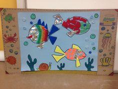 Mixed media under the sea fish mosaics