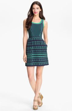 Nanette Lepore Cambell Silk Sheath Dress available at #Nordstrom love this Gumball Green/Navy combo with the pink detail. #spring #style