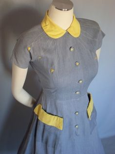 Gray cotton day dress with yellow decoration, c. 1940's.