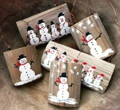 How to Make Your Own Reclaimed Wood Snowman Tree Ornament. www.salvagesecret...