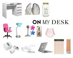 """What's On My Desk"" by kaitlynnnnrose ❤ liked on Polyvore featuring Flash Furniture, IdeaNuova, Keystone, Casetify, FOSSIL, Speck and Rifle Paper Co"