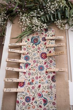 Peg Fabric Seating Plan Table Chart Stylish Floral Barn Wedding http://www.sarareeve.com/