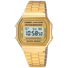 Casio A168WG-9EF Unisex Core Bracelet Strap Watch, Gold (£60) ❤ liked on Polyvore featuring jewelry, watches, accessories, gold wrist watch, gold jewellery, gold digital watch, water resistant watches and gold jewelry