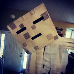 "This guy was the large Ghast we made and hung from the ceiling fan so he slowly ""floated""around the room"