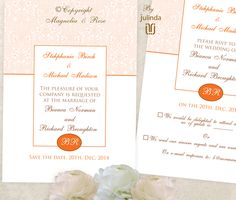 'TANGERINE ELEGANCE' A versatile #wedding #invitation, rsvp and table settings set, customised to suit your day. (Maps or directions and other elements can also be ordered). Goes with Apricot, Orange, Mocha, White, Ivory, Peach. | © Julinda |