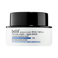 belif - The True Cream Aqua Bomb C$48.00: A gel-cream that 'floods' the skin with a rush of refreshing hydration and minimizes the appearance of pores for soft, smooth, supple skin for normal to combination skin types, including oily skin, and dry skin types looking for a lightweight moisturizer. What it is formulated WITHOUT: - Parabens - Sulfates - Phthalates