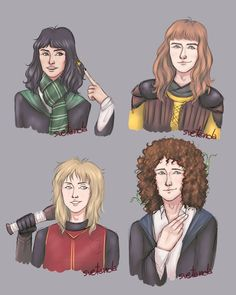 I had in mind this Hogwarts AU for Queen for a while now and I'm happy that I finally finished this! I still haven't thought about their boggarts, patronuses and wands but there's time for everything Harry Potter Crossover, Hp Harry Potter, Freddie Mercury, Great Bands, Cool Bands, Britney Spears, Nirvana, Queen Drawing, Queen Meme