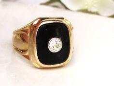 Mens Antique Diamond & Onyx Art Deco Ring by LadyRoseVintageJewel