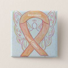Peach Awareness Ribbon Angel Custom Button Pins - The peach ribbon color means support for uterine and endometrial cancers. Let this peach ribbon help bring cancer awareness!