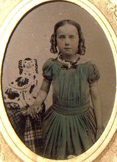 Civil War Era Tintype Photo with Tax Stamp Girl with Dog Staffordshire China   eBay