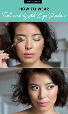 We love eye shadow palettes with über-bright shades, but wondered how those lovely hues would translate to our eyes. Your wondering is over! I've got the secret to pulling off two of the boldest shades — teal and yellow — seamlessly: Put them together! This blended method can be used with other colors and can be toned down or hyped up. here's how to get this look.
