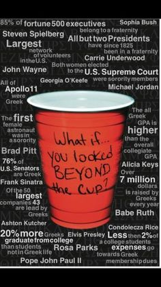 What if you looked beyond the cup? I think this is great. Greek life is so much more than the stereotype people think it is. Condolecza Rice was an Alpha Chi Omega at DU! Delta Phi Epsilon, Phi Sigma Sigma, Alpha Omicron Pi, Kappa Kappa Gamma, Pi Beta Phi, Alpha Sigma Alpha, Delta Zeta, Phi Mu, Tri Delta