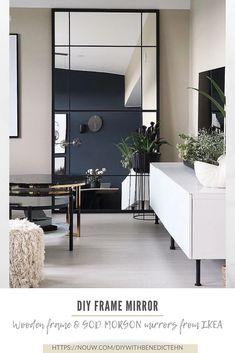 Large Bedroom Mirror, Living Room Mirrors, Ikea Mirror Hack, Diy Mirror, Diy Interior, Nordic Interior, Modern Kitchen Design, Luxurious Bedrooms, Furniture Decor