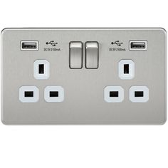 Knightsbridge - Screwless 13A 2G Switched Socket With Dual Usb Charger - Brushed Chrome With White Insert: Amazon.co.uk: Lighting