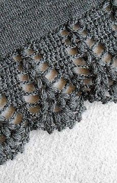 Crochet Edgings Patterns Crochet lace edging on knitted piece (stoles, shawls, ect) ~~ Узор для вязания каймы крючком Crochet Boarders, Crochet Edging Patterns, Crochet Lace Edging, Crochet Trim, Love Crochet, Diy Crochet, Crochet Designs, Knitting Patterns, Picot Crochet
