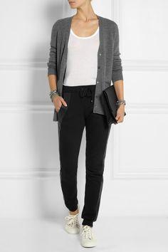 Lot78 Leather-trimmed cotton-jersey track pants NET-A-PORTER.COM