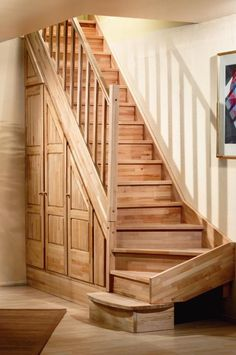 Treppen und Schränke von Mathieu Montigny Under stairs storage Staircase Storage, Attic Stairs, Stair Storage, Home Stairs Design, Interior Stairs, House Design, Cottage Stairs, House Stairs, Attic Renovation