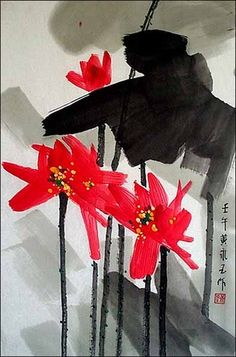 Hand Painted Chinese Watercolor Painting Huang Yongyu Copy - Red Lotus Blossom