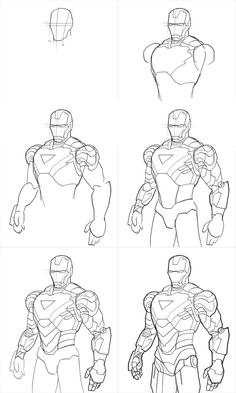 Here, you'll learn how to draw iron man. Thankfully, if you are one of those who like to draw your favorite hero Iron Man, you need go to the extent of ha Avengers Drawings, Drawing Superheroes, Drawing Cartoon Characters, Character Drawing, Marvel Characters, Cartoon Drawings, Pencil Drawings, Iron Man Drawing, Guy Drawing