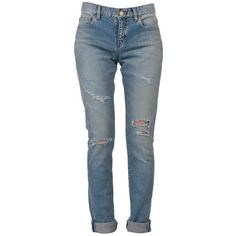 Saint Laurent Jeans ($410) ❤ liked on Polyvore featuring jeans, pants, bottoms, blue, blue jeans, blue ripped jeans, distressing jeans, destroyed jeans and torn skinny jeans