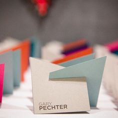 Your modern aesthetic can extend to your escort cards, too. These shapely cards created by 33 West Designs, are perfect for a loft wedding. Wedding Places, Wedding Place Cards, Wedding Card, Wedding Decor, Wedding Souvenir, Wedding Escort Card Ideas, Wedding Venues, Wedding Tables, Diy Wedding