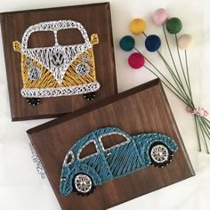 Volkswagon beetle or van Peace. Volkswagen Choose: VW van in board Beetle in board Stain and string colors are fully customizable<br> Diy Arts And Crafts, Fun Crafts, String Art Diy, String Crafts, String Art Patterns, Doily Patterns, Thread Art, Wood Art, Diy Gifts