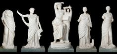 Statues of Apollo and his muses from the Baths of Faustina at Miletos (mid 2nd century CE.)