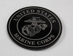 "Set of black US Marine Corps coasters laser engraved on 1/8"" thick acrylic with felt backing. Great gift !"