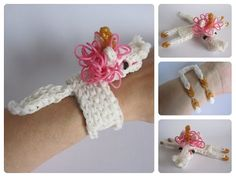 Rainbow Loom 3D UNICORN/HORSE bracelet. Designed and loomed by Nancy at Loombicious. Click photo for YouTube tutorial. 10/27/14.
