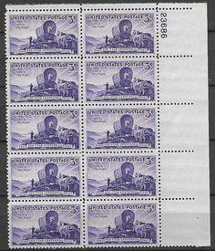US # 950 - 3¢ Utah Settlement  MNH Vintage Plate Block of 10 Postage Stamps OG
