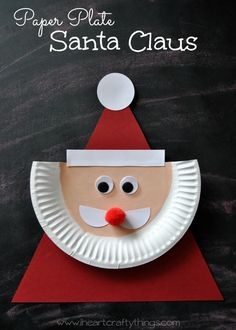 Santa Craft for Kids | Use a paper plate and various shapes to create this darling Santa craft.