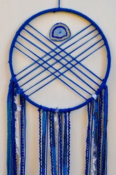 Your place to buy and sell all things handmade Blue Dream Catcher, Lace Dream Catchers, Beautiful Dream Catchers, Blue Geode, Dreamcatchers, Baby Boy Nurseries, Navy Blue, Abstract, Modern