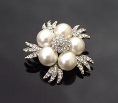 Bridesmaid gift? Ivory Pearl Cluster Brooch, Vintage Style Bridal Pearl Brooch Pin, HELENE