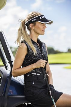 Show details for Daily Sports Ethel Sleeveless Polo Shirt - Black Girl Golf Outfit, Mens Golf Outfit, Golf Attire, Girl Outfits, Girls Golf, Ladies Golf, Women Golf, Gym Workouts Women, Golf Fashion